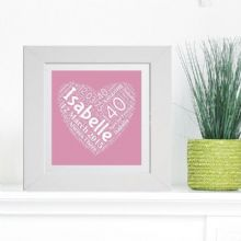 Framed Friend Heart Word Cloud - Ideal Birthday Milestone, Anniversary or Event gift - Unique Keepsake